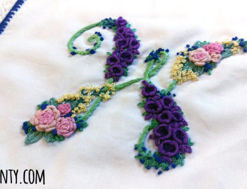 Hand Embroidered Monogram Wedding Handkerchief
