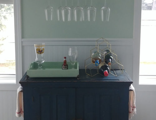 Antique Bar Cart & Wine Glass Shelf
