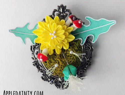 Dandelion and Chrysanthemum Mossy Brooches