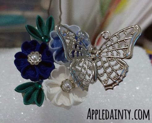 Royal Blue Bridal Kanzashi Set