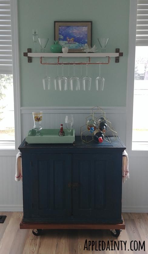 Antique Bar Cart & Wine Glass Shelf